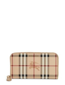 elmore-haymarket-check-coated-canvas-&-leather-zip-around-wallet by burberry