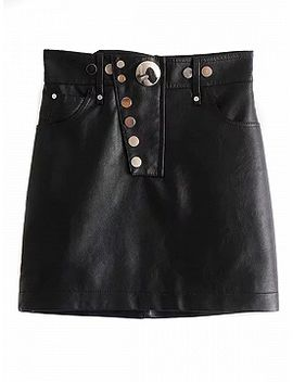 black-high-waist-button-front-leather-look-pencil-mini-skirt by choies