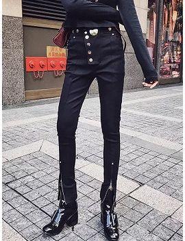 black-high-waist-button-front-thigh-zip-detail-pants by choies