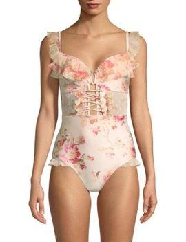 ruffle-lace-up-corset by zimmermann