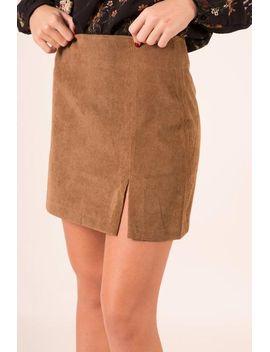 corduroy-side-slit-skirt---camel by hazel-&-olive