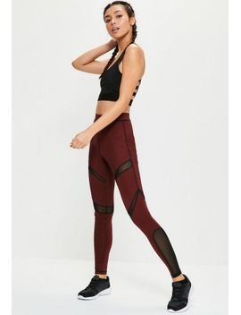 active-burgundy-mesh-panel-sports-leggings by missguided