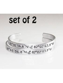 "coordinate-bracelets-set-of-2-latitude-longitude-custom-coordinate-cuff-customized-hand-stamped-bracelet-valentines-day-gift--1_4"" by etsy"