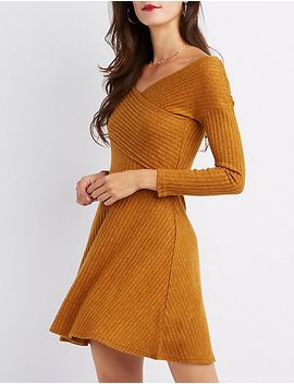 ribbed-hacci-knit-skater-dress by charlotte-russe