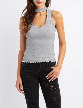striped-choker-neck-keyhole-top by charlotte-russe