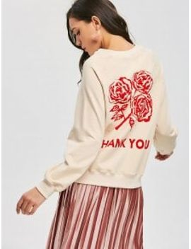 raglan-sleeve-letter-rose-sweatshirt---light-beige-s by zaful