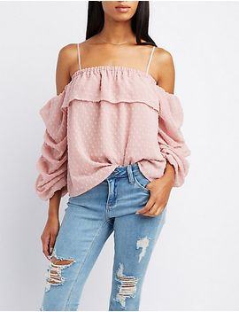 swiss-dot-cold-shoulder-top by charlotte-russe