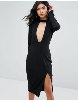 club-l-choker-detailed-split-long-sleeve-midi-dress by club-l