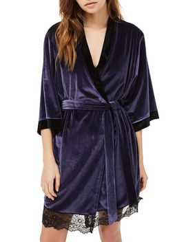 nocturne-lace-and-velvet-robe by topshop