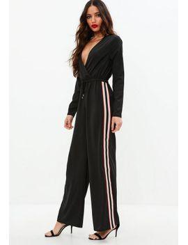 black-side-stripe-wrap-jumpsuit by missguided