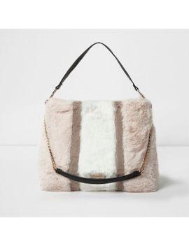 beige-block-colour-faux-fur-chain-handle-bag by river-island