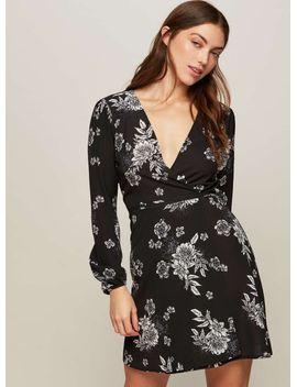 monochrome-floral-print-wrap-dress by miss-selfridge