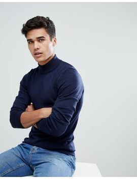asos-muscle-fit-merino-turtleneck-sweater-in-navy by asos