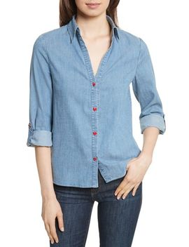 eloise-appliqué-roll-cuff-shirt by alice-+-olivia