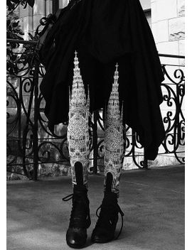 ready-to-ship---gothic-architecture-cathedral-church-illustrated-dark-printed-black-&-white-limited-edition-art-leggings by shopcasstronaut