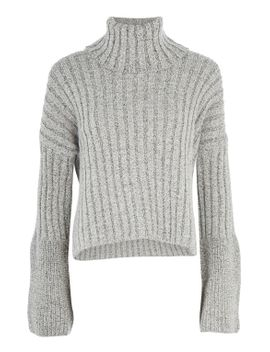 chunky-wide-ribbed-roll-neck-jumper by topshop