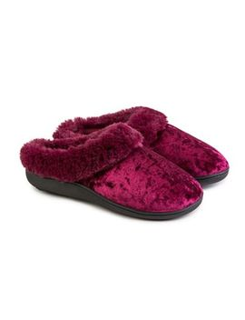 totes---pink-crushed-velour-pillowstep-heeled-mule-slippers by totes