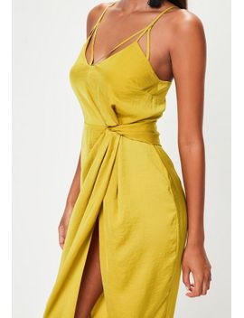 yellow-twist-front-detail-midi-dress by missguided