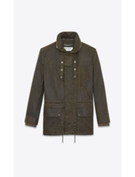 parka-with-stowaway-hood-in-military-green-waxed-cotton by saint-laurent