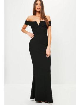 black-bardot-crepe-v-plunge-maxi-dress by missguided