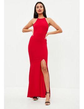 red-sleeveless-90s-neck-split-hem-maxi-dress by missguided