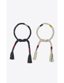 set-of-plaited-and-knotted-marrakech-bracelets-in-multicolored-wool-and-black-metal by saint-laurent