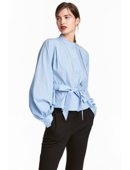 cotton-blouse-with-a-tie-belt by h&m