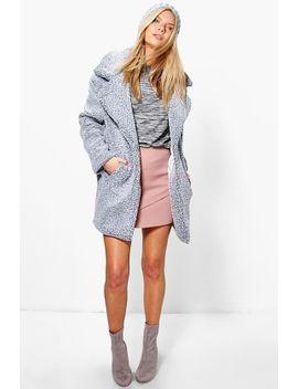 alice-teddy-boucle-marl-rever-collar-coat by boohoo