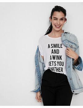a-smile-and-a-wink-crew-neck-graphic-tee by express