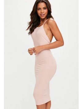 nude-low-back-90s-neck-bodycon-midi-dress by missguided