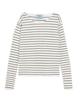 striped-cotton-jersey-top by prada