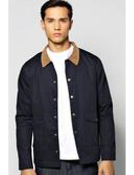 navy-button-through-trucker-jacket-with-cord-collar by boohooman