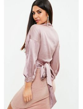 purple-satin-tie-blouse by missguided