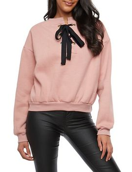 fleece-lined-lace-up-back-sweatshirt by rainbow