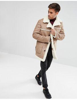 asos-faux-shearling-coat-in-camel by asos