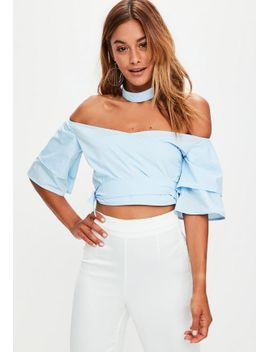 blue-off-the-shoulder-choker-crop-top by missguided