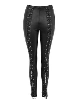 faux-leather-lace-up-skinny-trousers by topshop