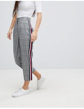 asos-petite-tailored-pants-in-mono-check-with-sports-trim by asos-petite