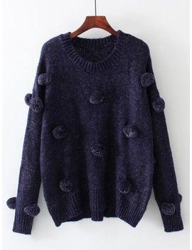 pom-pom-design-drop-shoulder-jumper-sweater by sheinside