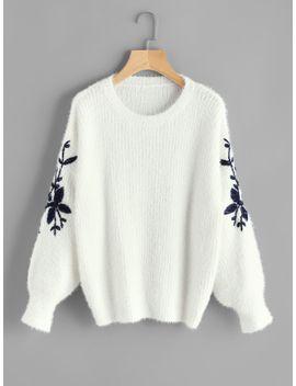 flower-embroidered-fluffy-jumper by sheinside
