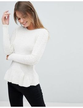 miss-selfridge-cable-peplum-sweater by miss-selfridge