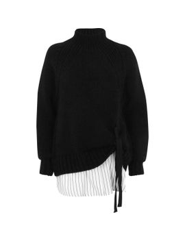 black-tie-front-high-neck-layered-jumper by river-island