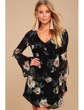 serendipity-black-floral-print-long-sleeve-shift-dress by lulus