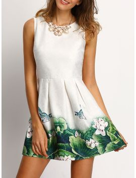 white-floral-frint-pleated-skater-dress by sheinside
