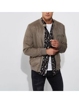 grey-faux-suede-racer-jacket by river-island
