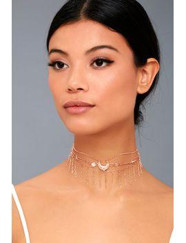 horoscope-rose-gold-layered-choker-necklace by lulus