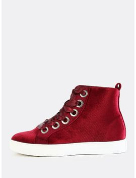 ribbon-lace-up-sneakers-burgundy by sheinside