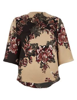 black-floral-print-high-neck-cape-sleeve-top by river-island