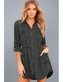 remy-charcoal-grey-long-sleeve-shirt-dress by on-the-road