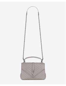 womens-medium-college-bag-in-mouse-gray-matelassé-leather by saint-laurent